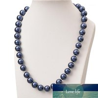 Chains Wholesale 10mm Size For Deep Blue Pearls Beads Making Diy Knotted Imitation Necklace 18inch Women Ladies Party Gifts H8451