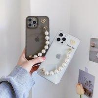 Phone Case Edge Bronzing Love Heart TPU Ramka na zdjęcia Przezroczyste Prosto z Pearl Bransoletka dla iPhone11 12 Pro Promax X XS Max 7 8 Plus Case Cover