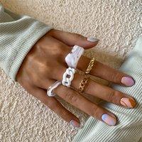 Kpop Resin Rings Set for Women Girls Wedding Bridal Retro Acrylic Geometric Irregular Ring Finger Engagement Jewelry