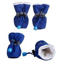 4pcs set Pet Dog Shoes Waterproof Anti-slip Boots Puppy Cat Socks Rain Snow Boots Footwear Winter Thick Warm chihuahua