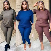 Plus Size Active Wear Women Solid Color Two Piece Set Sleeve...