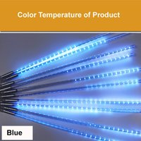 LED Strings Meteor Lamp Outdoor Linear Tube 30CM Waterproof Raining Effect For Christmas Holiday Festival Decoration Ornament Blue With Adaptor 220V