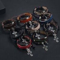 Retro Jesus Cross Charm Armband Houten Kralen String Verstelbare Multilayer Wrap Lederen Armbanden Bangle Cuff voor Vrouwen Mannen Mode-sieraden Will en Sandy