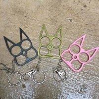 Klassische Katzenform Selbstverteidigung Keychain Selbstverteidigungswerkzeug Katze Kopf Zwei-Finger Metall Selbstdefas Waffen Geschenk 3 Farben personalisiert