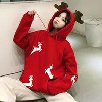 Women's Jackets Moda urbana feminina estilo coreano moletom vermelho bonito pulôveres de inverno para mulheres suéter ulzzang com capuz roupas kawaii S6R1