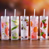 18oz 유행 더블 레이어 밀짚 컵 투명 플라스틱 물 병 뚜껑과 빨대와 직선 컵
