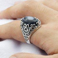 Klusterringar Män 925 Sterling Silver Ring Ovala Devil's Eye Agate Stone Finger för Man Bröllop Fine Smycken Gitter