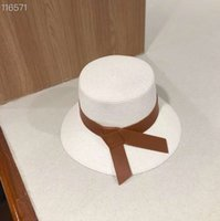 Cappello di paglia rivestito in pelle Cappello da donna Bianco Cappelli da sole largo Brim Cap Bucket Beach Beach Caps Viaggiare