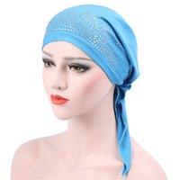 Nuevas mujeres Moda Musulmán Hijab Cáncer Quimio Color Sólido Rhinestone Turban Cubierta de cabeza Pérdida de cabello Bufanda Wrap Wrap Pre-ated Bandanas