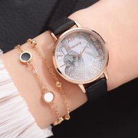 Armbanduhren elegante frauen lederuhren modische weibliche quarz ldies frauen diamant uhr uhr