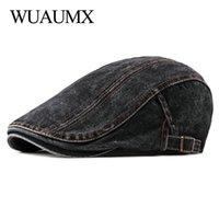 Wuaumx Casual Spring Summer Berets Hat Men Women Denim sboy Caps Visors Cotton Cabbie Herringbone Duckbill Ivy Flat