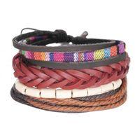 Charm Bracelets Original Design Leather Bracelet Set Hand Braided Knot Multi-color Rope Beads & Bangles Women Men Gifts