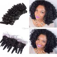Tia Funmi Curly Lace Fechamento Com Cabelo Humano 3bundos 4 Pçs orelha para orelha Frontais de renda completa com Romance Curls Weaves de cabelo