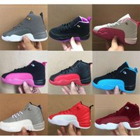 Cheap kids 12 12s basketball shoes Sunrise Bordeaux Wolf Flu The Master Taxi French Blue Barons Gym Red Sports sneakers lesvago