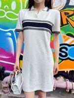 Mulheres Casual Vestidos Outwear Camisetas Long Shirt Polos Tees Tops com letras impressas mangas curtas para senhora Slim Dress Listrado Polo Tamanho Polo S-L