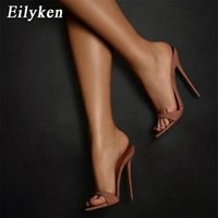 Eilyken Fashion Women Slippers Sexy Pointed toe Strappy Mule High Heels Sandals Slides Party Shoes Woman Pumps Size 35-42 210611