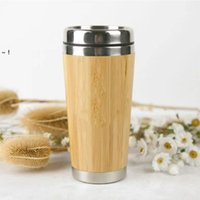 450ml Bamboo Tumblers Natural Stainless Steel Water Bottle Reuseable Portable Travel Mugs Cups RRD11241