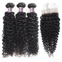 Перуанские волосы kinky вьющиеся глубокая волна 3 4 шт. С кружевной закрытием бразильской яки прямой водяной волны Индийские человеческие волосы пучки с закрытием