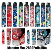 Authentic Monster Max Disposable Pod Device Kit 2500 Puffs Big Capacity Stick Vapor Vape Pen Bar Cartoon Prints 100% Genuine VS Plus Pro