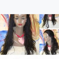 30inches long Kinky Twist synthetic Lace Front Wig Natural Afro Fully micro braids wig African Synthetic Braid For Afro Women
