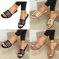 Women Slides Summer Sandal Sandals Stripe Flat Slipper Band Slide Open Toe Fashion Ladies Shoes Beach Non-slip 07 Big Size EU35-42 GR00 Dijk