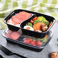 New150set / lote plástico descartável bento caixa de refeição de refeição de alimentos preparar almoço 2 compartimento contentores microondable casa lunchbox EWD7640