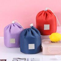 한국어 배럴 모양의 화장품 메이크업 가방 핸드백 우아한 나일론 드럼 워시 가방 큰 용량 메이크업 주최자 여성 저장 파우치 가방 6 색