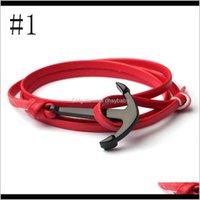 Bracelets de charme Drop Livraison 2021 Bijoux de mode Unisexe PU en cuir en cuir bracelet Vikings Bracelet de voile avec crochet d'alliage d'ancrage nautique