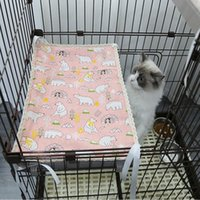 Cat Beds & Furniture Summer Cooling Mat Fixable Cage Hammock Straw Double Use Canvas Platform Pad Cool Comfortable Kitten Bed Pet Accessorie
