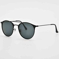 Gafas de sol Top Marca 3546 Gafas de sol de acero Hombres Mujeres 49mm Lente de vidrio Espejo Redondo Puente Doble Oculos de Sol Gafas UV400 Proteger