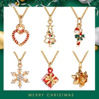 Merry Christmas Gift Necklace Pendants Jewelry For Women Lovely Snowflake Tree Santa Claus Gifts Dropshipping