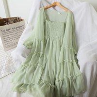 Zwei Stück Kleid Frauen Sommer Chiffon Strand Lange Mantel + Gurt Maxi 2 Sätze Sexy Schulterfrei Böhmischer Stil Ärmelloser Anzug H122 Llyg
