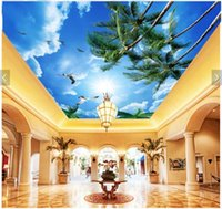 Wallpapers 3d Ceiling Murals Wallpaper Custom Po Blue Sky And White Clouds Palm Trees Sunshine Living Room Wall