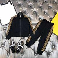designer kids tracksuit clothing jacket+ pants 2pics sets boys& girls autumn cotton childrens sports wear black 100-160
