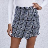 Hohe Taille Frauen Röcke Herbst Winter Retro Plaid A-line Casual Kurzer Minirock Weibliche Paket Hüfte Slim Fit Bottoms Dame