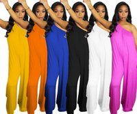 Women solid color jumpsuits sexy off shoulder onesie wide leg rompers sleeveless overalls fashion clubwear summer loose one piece pants 3233