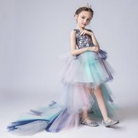 Girl's Dresses 2021 Cute Flower Girl Jewel Neck High Low Pageant Gown Cascading Ruffle Sweep Train Custom Made Birthday Gowns