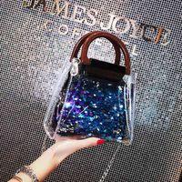 Designer Handbags Bags Women 2020 New Pvc Clear Bags Designer Toiletry Bag Fashion Trend Beaded Sequins Detachable Chain Shoulder BagVBZS