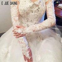 Brauthandschuhe E Jue Shung Elegante Spitze Appliques Sheer Tüll Lange Hochzeit Handschuh Fingerlos Für Party