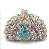 Aushöhlen Peacock Form Frauen Clutch Abendtaschen Metall Box Minaudiere Hochzeitsfeier Diamant Handtasche und Geldbörse