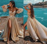 2021 골드 스팽글 이브닝 드레스 공식 아랍어 스플릿 라인 파티 Vestidos 연인 Backless 섹시한 여성 가운 드 Soriee Prom 가운 길이