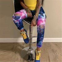Women Hole Frayed Jeans Fashion Trend Tie-dye Skinny Zipper Denim Pencil Pants Designer Female Autumn Casual High Waist Jean Trousers