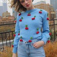 HARAJUKU Chic Vintage Handmade Maglieria Maglia a maglia Cherry Blue Fashion Donne Allentato Sviluppatore invernale Sweater per femmina1