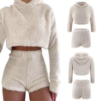 Women's Tracksuits 2Pcs Sets Sexy Fluffy Suits Velvet Plush Hooded Sleepwear Shorts+Crop Top Women Tracksuit Casual Sports Set