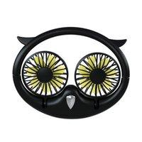 2020 new owl hanging neck fan desktop usb portable folding telescopic fan lazy hanging neck fan