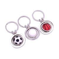 3D Sports Rotating Football key ring Basketball Souvenirs Golf Pendant Metal Gifts hip hop jewelry Jewelry woman 3355 Q2