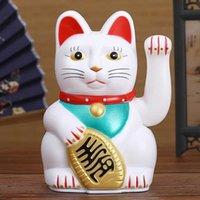 "Kinesisk Feng Shui Beckoning Cat Wealth White Waving Fortune / Lucky 6 ""H Guld Silvergåva För Lycka Kitty Decor 210804"