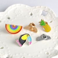 Summer holiday Rainbow Glass watermelon Brooch pins enamel Cartoon Lapel pin for women men Top dress cosage fashion jewelry will and sandy