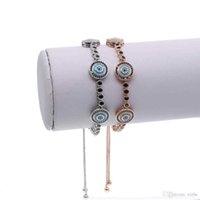 Fit pandora fashion jewelry micro pave cz turquoise stone evil eye charm adjust girl black tennis bracelet