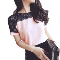 Korean Fashion Chiffon Women Blouses Lace Short Sleeve Pink Women Shirts Plus Womens Tops Blusas Femininas Elegante